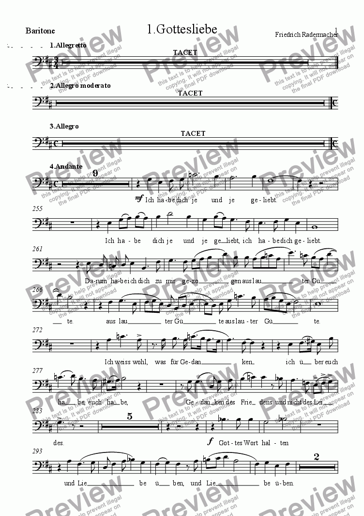 page one of the Baritone part from 1.Gottesliebe