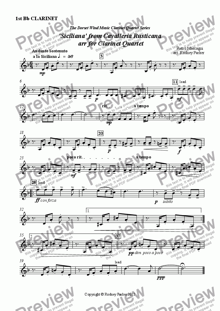 page one of the 1st Clarinet in Bb part from 'Siciliana' from Cavalleria Rusticana  arr for Clarinet Quartet