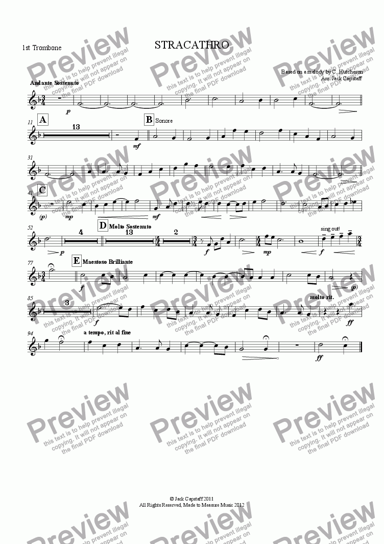 page one of the 1st Trombone part from STRACATHRO