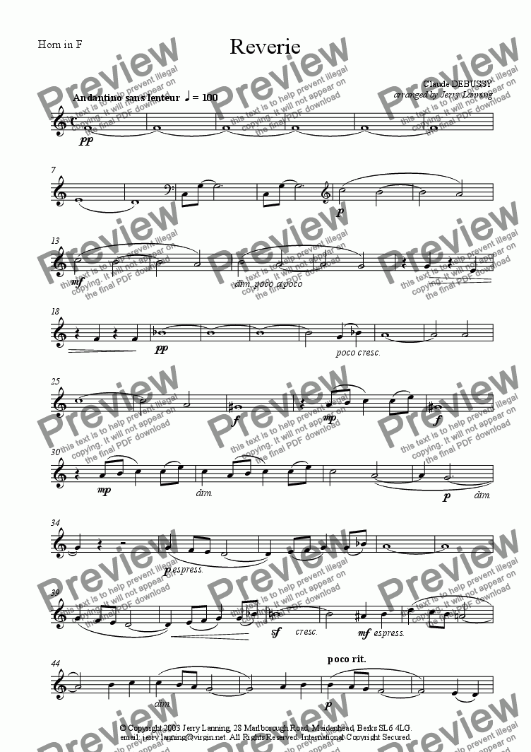 page one of the Horn  in F part from Reverie - Debussy (wind quintet)