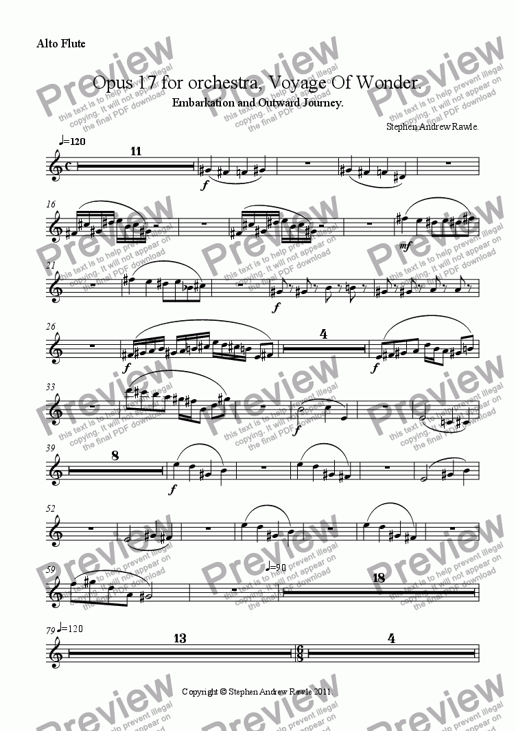 page one of the Alto Flute part from Opus 17/1, Voyage Of Wonder.