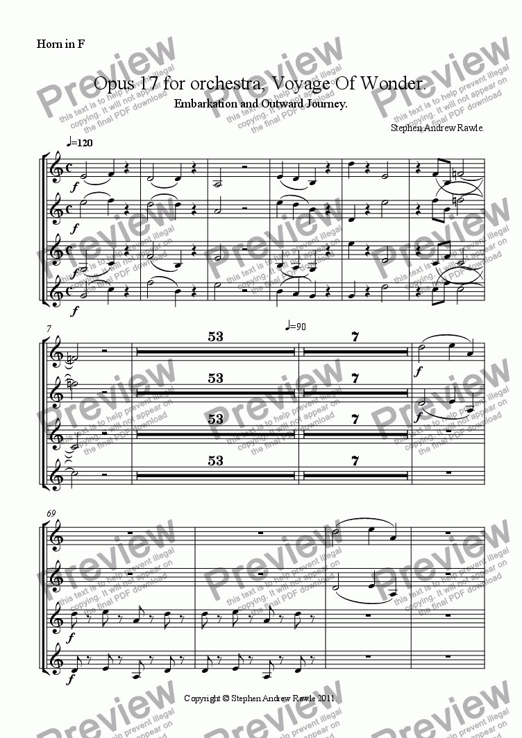 page one of the Horn in F part from Opus 17/1, Voyage Of Wonder.