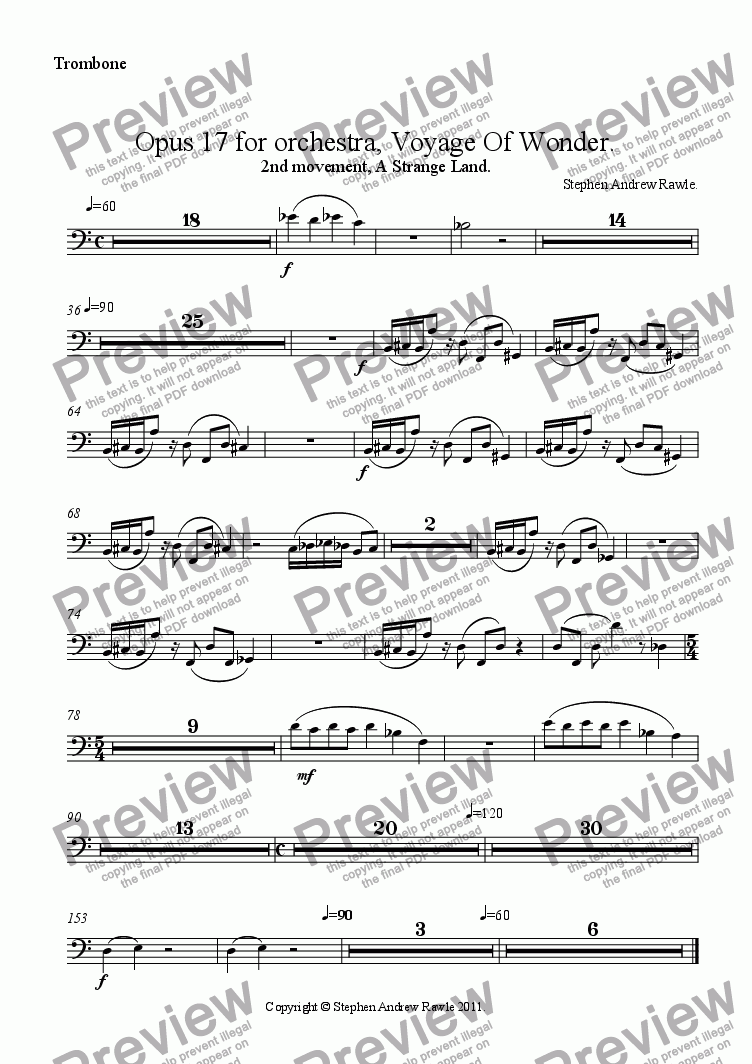 page one of the Trombone part from Opus 17/2, Voyage Of Wonder.