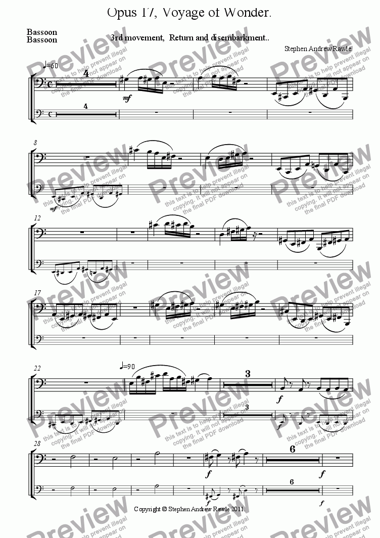 page one of the Bassoon part from Opus 17/3, Voyage Of Wonder.