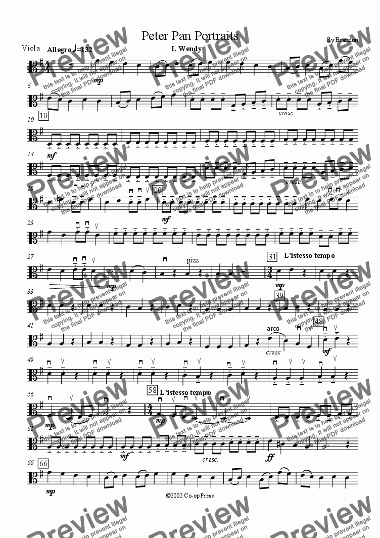 page one of the Viola part from Peter Pan Portraits