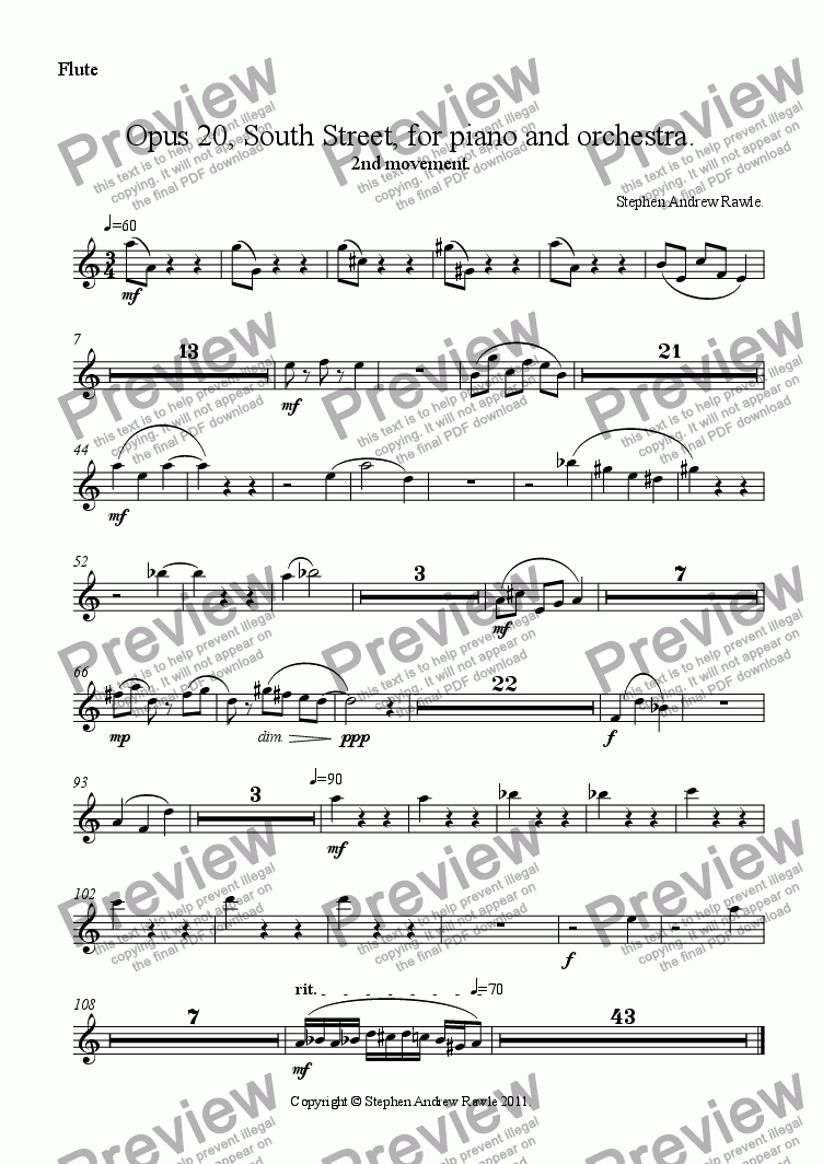 page one of the Flute part from Opus 20/2, South Street, for piano and orchestra.