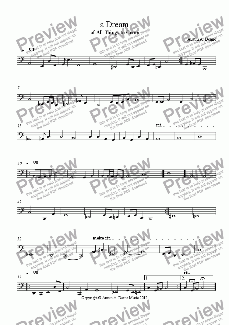 page one of the Bass Trombone part from a Dream