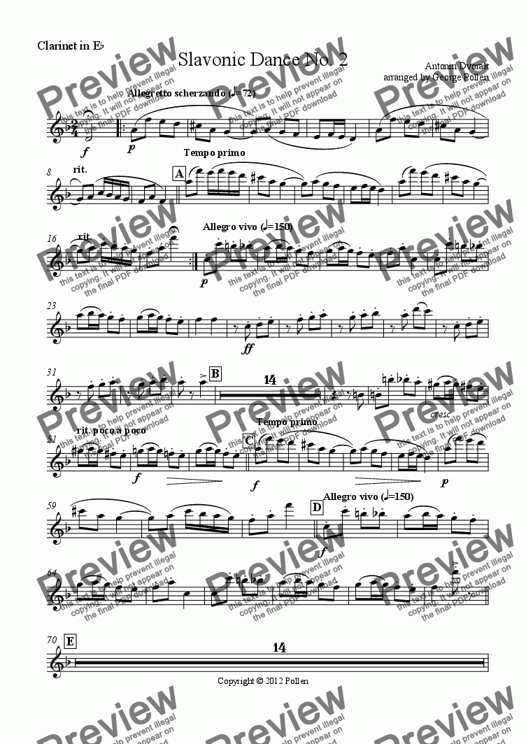 page one of the Clarinet in Eb part from Slavonic Dance No. 2 Op. 46 (CB)