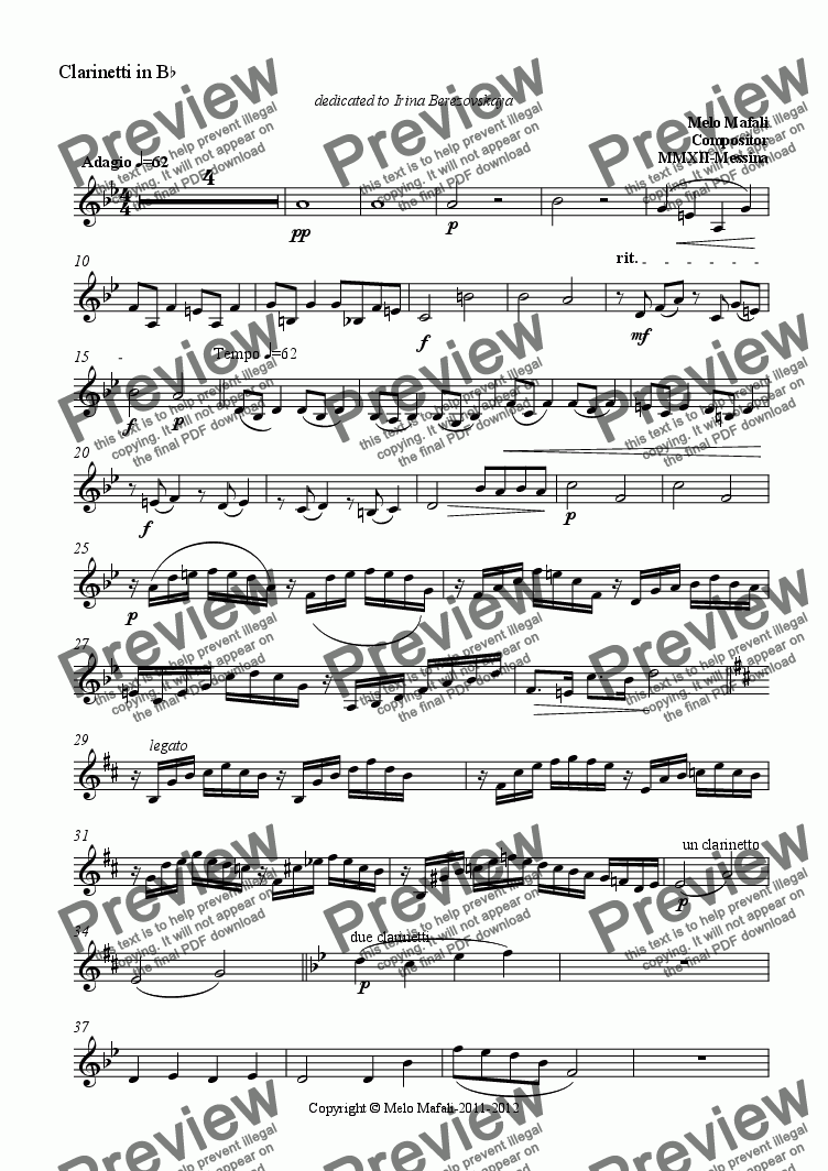 page one of the Clarinetti in B^b part from Adagio Per Orchestra
