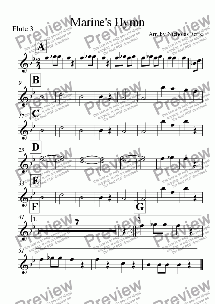 page one of the Flute 3 part from Marine's Hymn