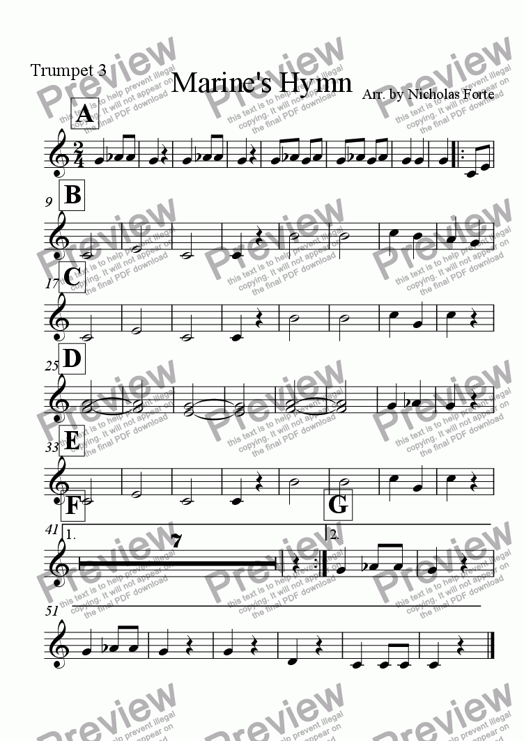 page one of the Trumpet 3 part from Marine's Hymn
