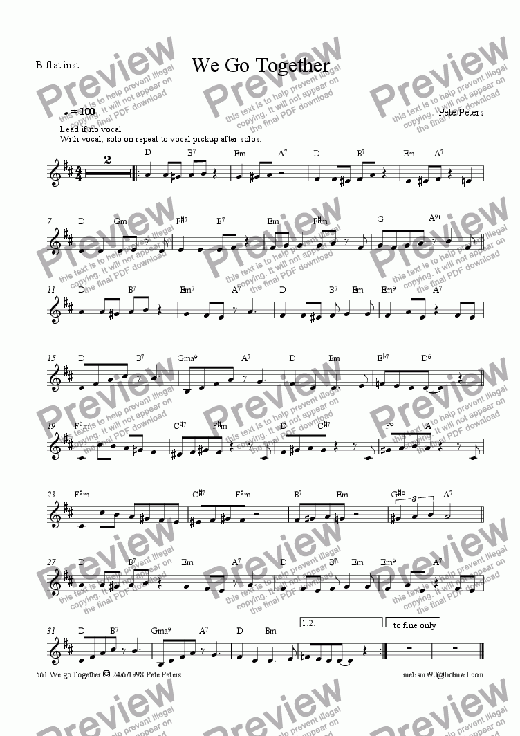 page one of the Bb instrument part from We go Together (Vocal+trio)