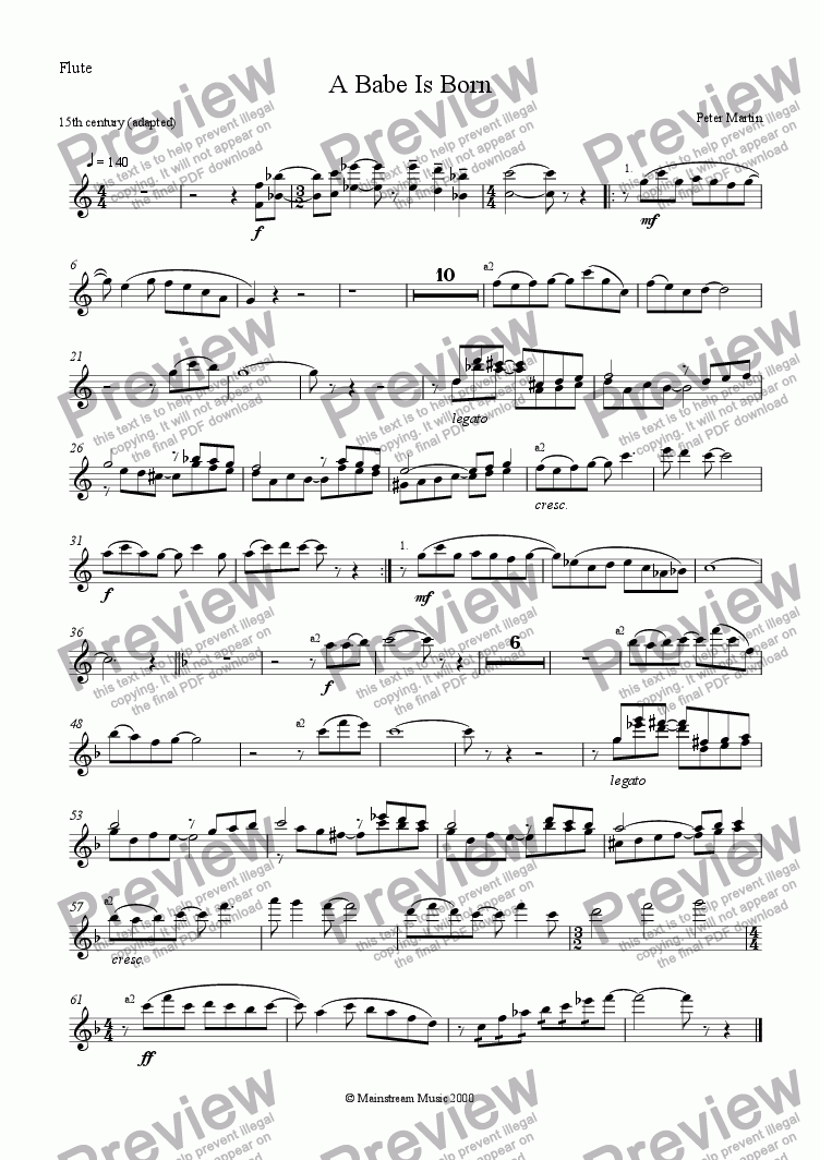 page one of the Flute part from A Babe is Born