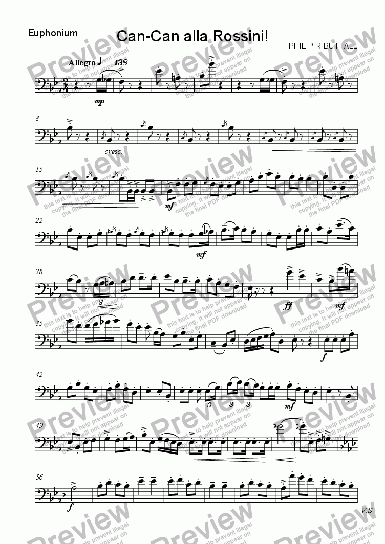 page one of the Euphonium (BC) part from Can-Can alla Rossini! (Solo instrument & Piano)