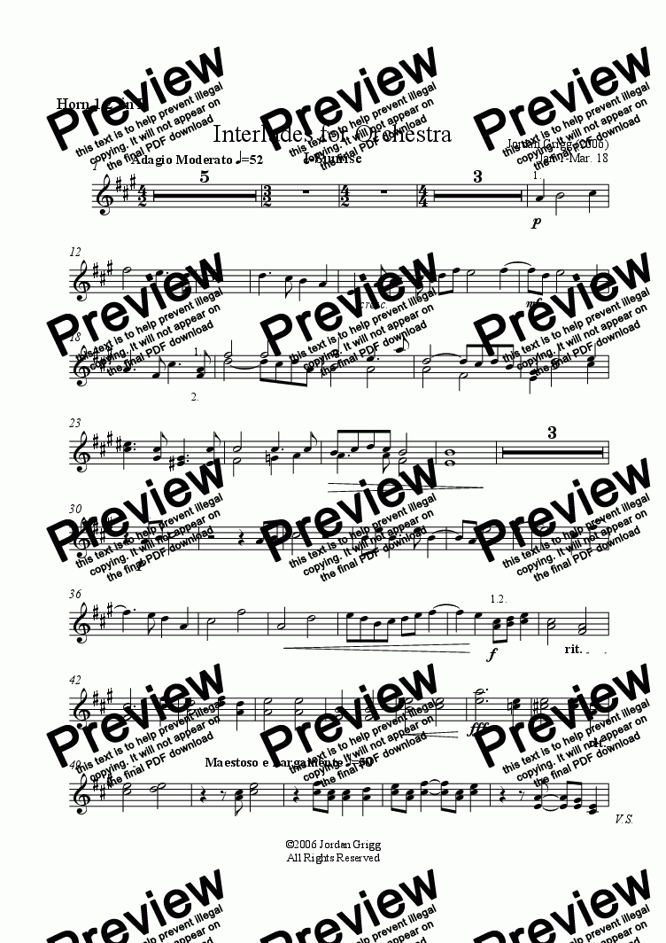 page one of the Horn 1.2. in F part from Interludes for Orchestra