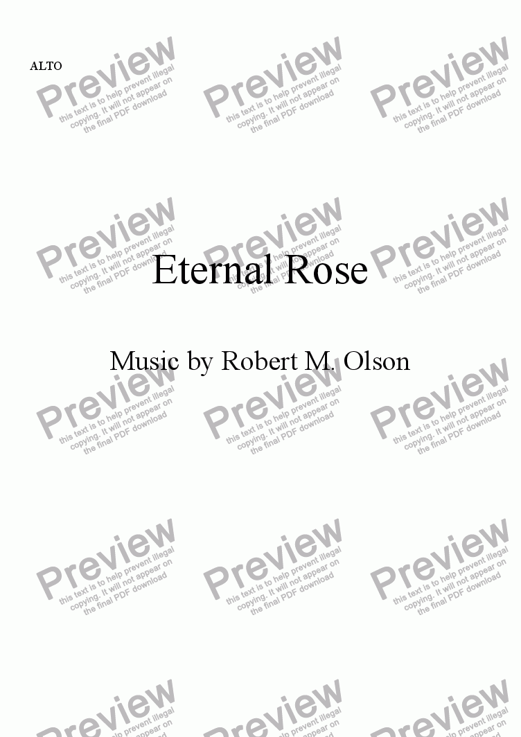 page one of the ALTO part from Eternal Rose