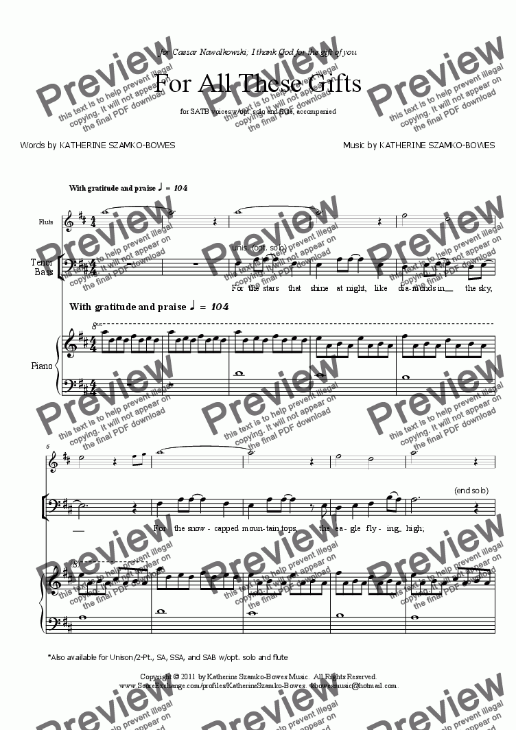 page one of the Flute part from For All These Gifts (SATB)