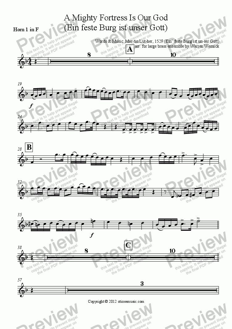 page one of the Horn 1 in F part from A Mighty Fortress Is Our God  (Ein feste Burg ist unser Gott) arranged for large brass ensemble, timpani and organ