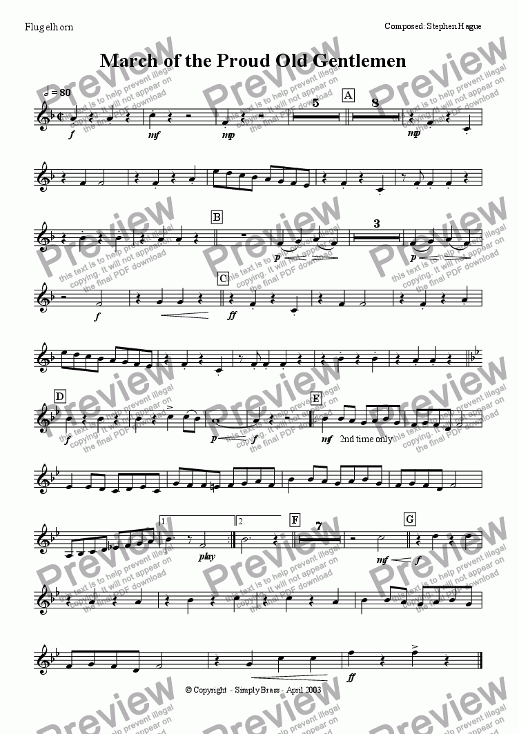 page one of the Flugelhorn part from March of the Proud Old Gentlemen
