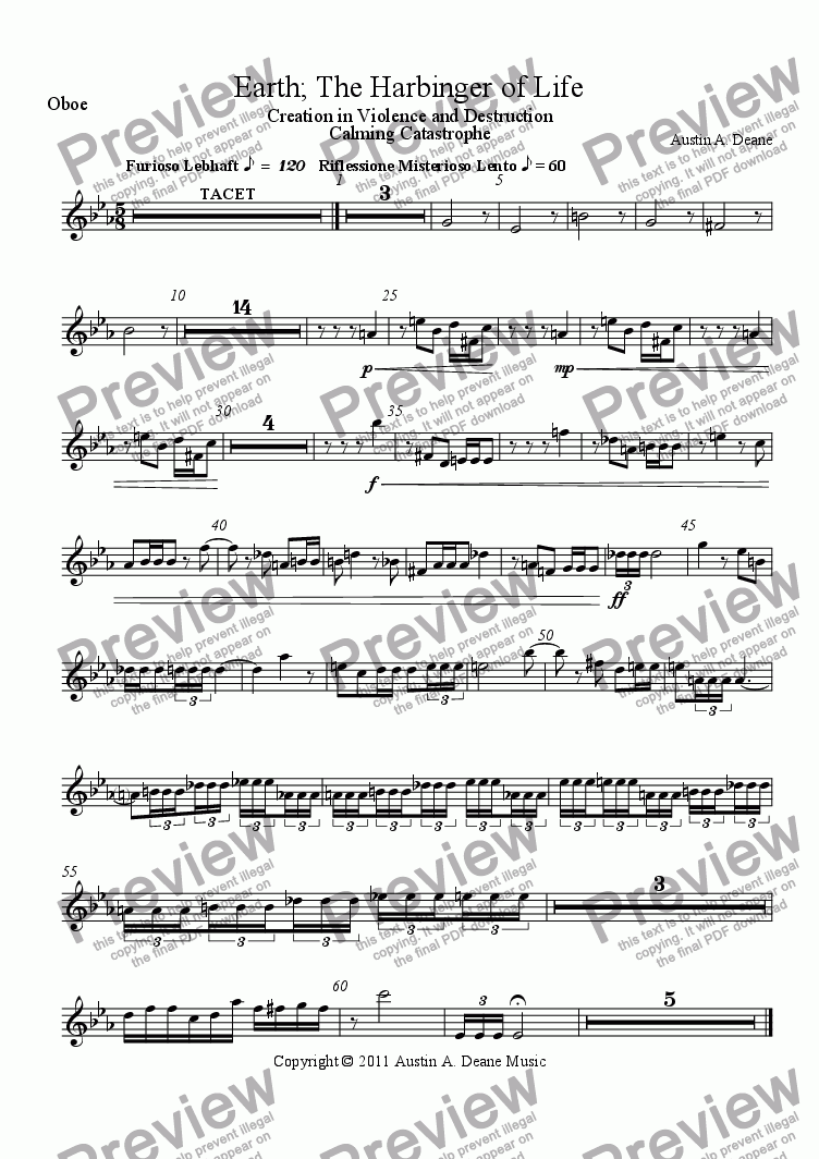 page one of the Oboe part from Earth; The Harbinger of Life