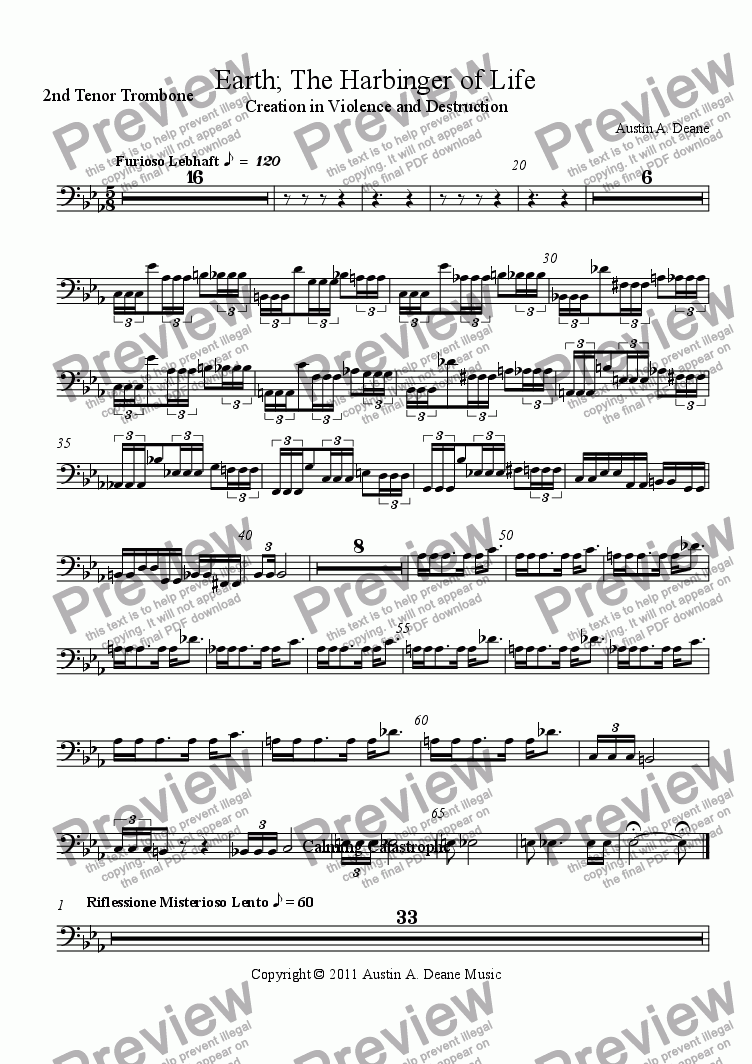 page one of the 2nd Tenor Trombone part from Earth; The Harbinger of Life