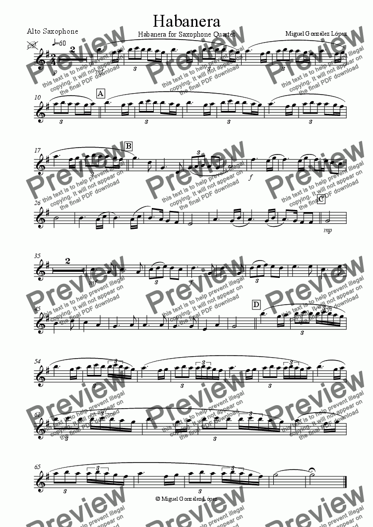 page one of the Alto Saxophone part from Habanera
