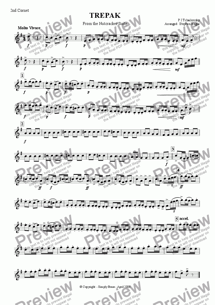 page one of the 2nd Cornet part from TREPAK - From the Nutcracker Suite