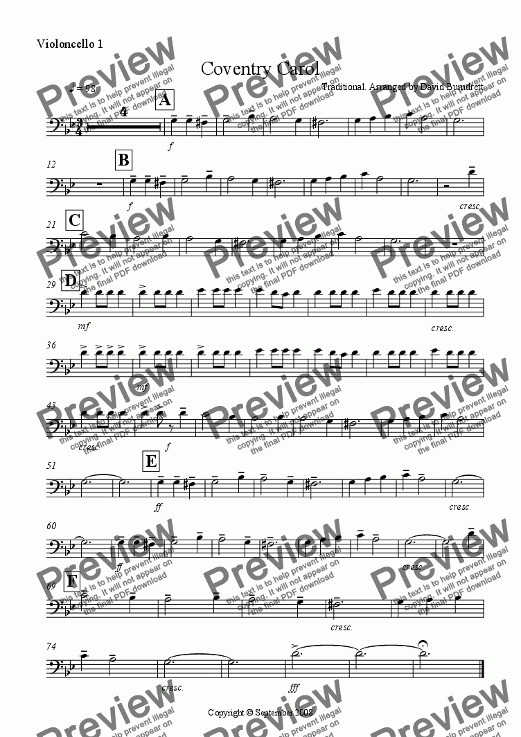 page one of the Violoncello 1 part from Coventry Carol for Cello Quartet