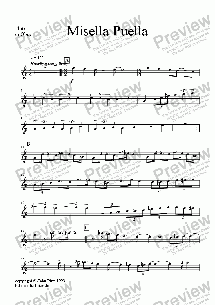 page one of the Flute or oboe or recorder part from Misella Puella (flute & piano) [1993]