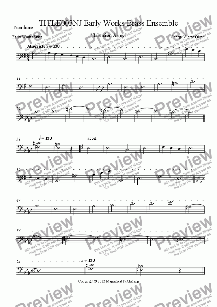 page one of the Trombone part from TITLE003NJ Early Works Brass Ensemble