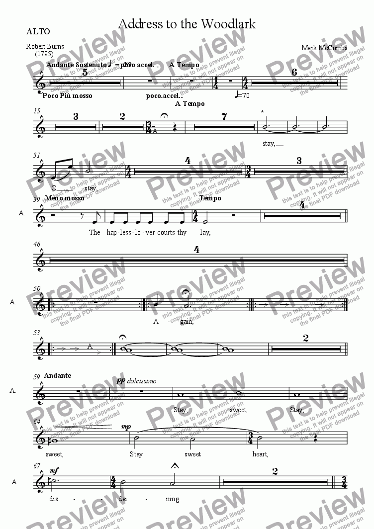 page one of the ALTO part from Address to the Woodlark