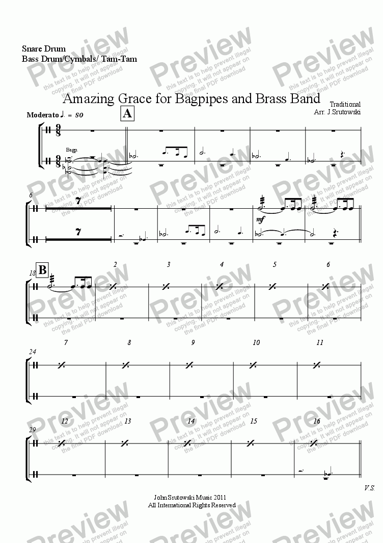 Snare Drum Bass Cymbals Tam Part From Amazing Grace For Diagram Page One Of The