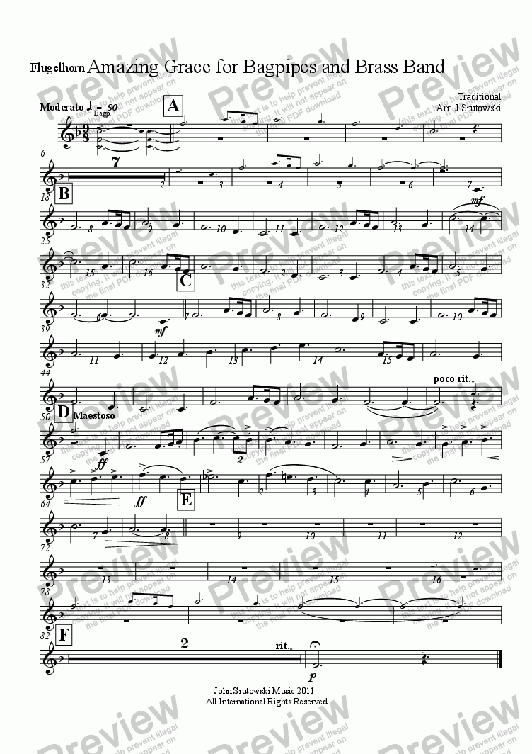 page one of the Flugelhorn part from Amazing Grace for Bagpipes and Brass Band