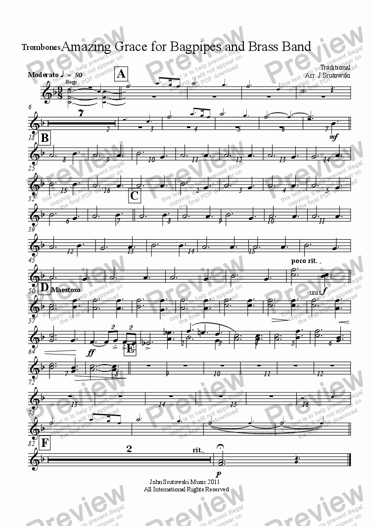page one of the Trombones part from Amazing Grace for Bagpipes and Brass Band