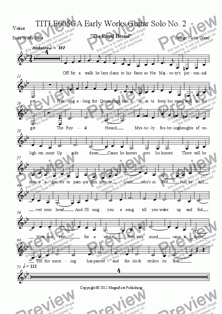 page one of the Voice part from TITLE005GA Early Works Guitar Solo No. 2