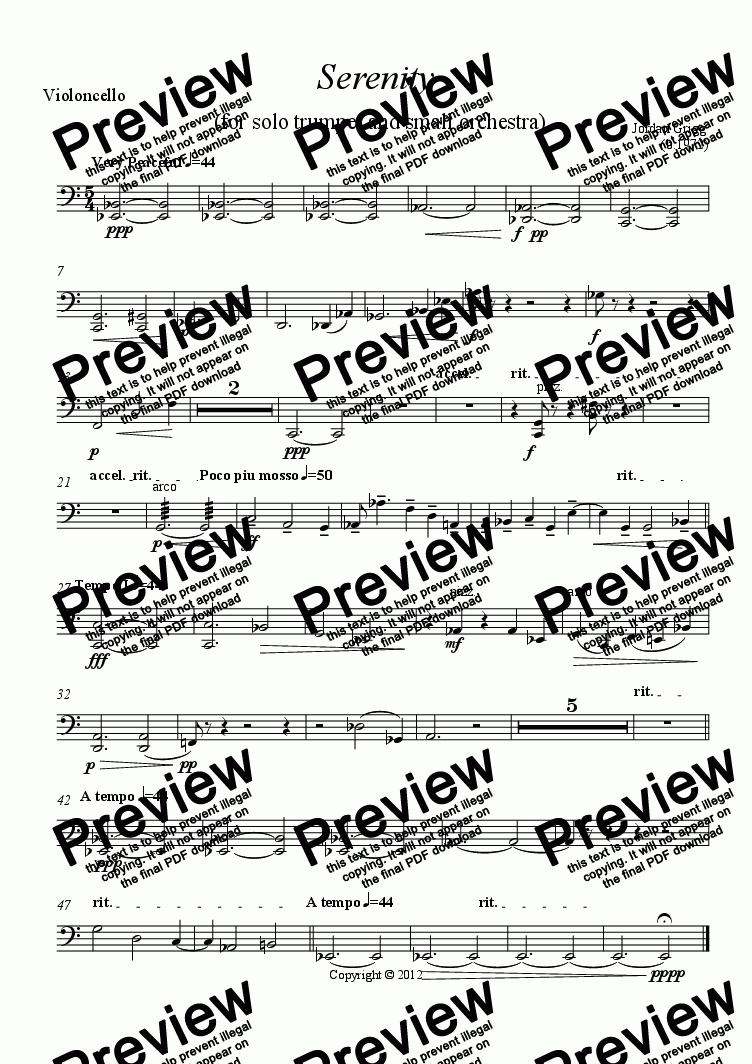 page one of the Violoncello part from Serenity  (for solo trumpet and small orchestra)