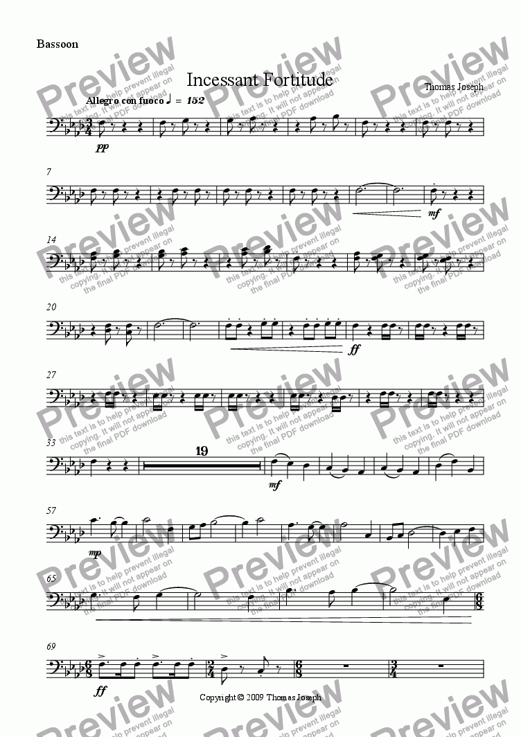 page one of the Bassoon part from Incessant Fortitude