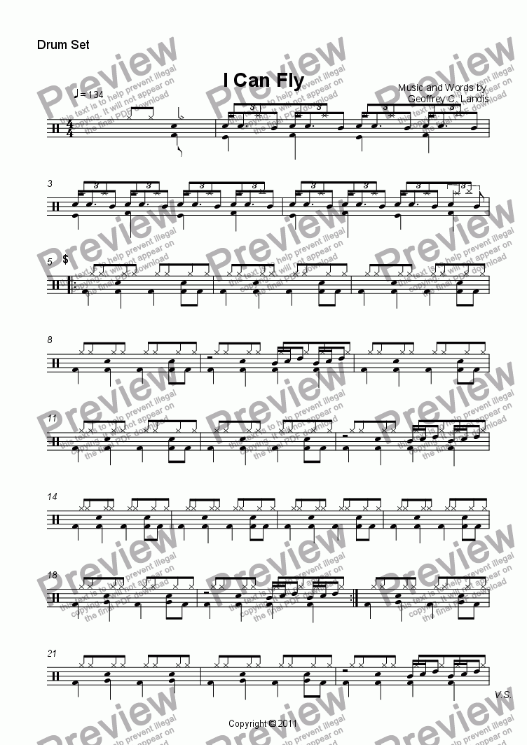 page one of the Drum Set part from I Can Fly