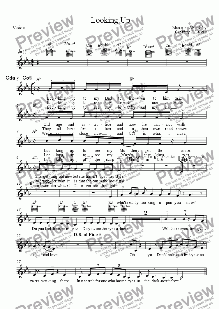 page one of the Voice part from Looking Up