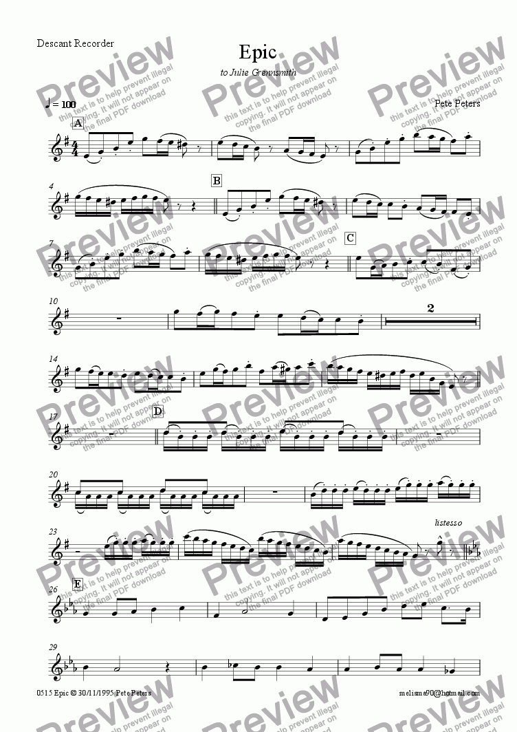 page one of the Recorder or Flute part from Epic (Recorder or Flute)
