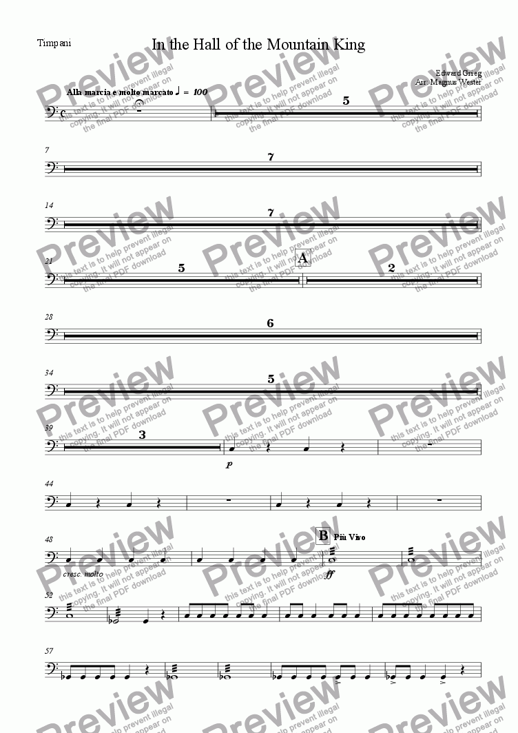 page one of the Timpani part from In the Hall of the Mountain King