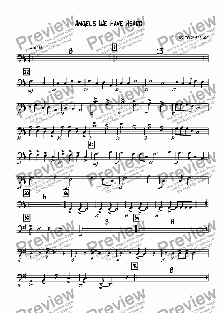 page one of the Bass Trombone part from Angels We Have Heard