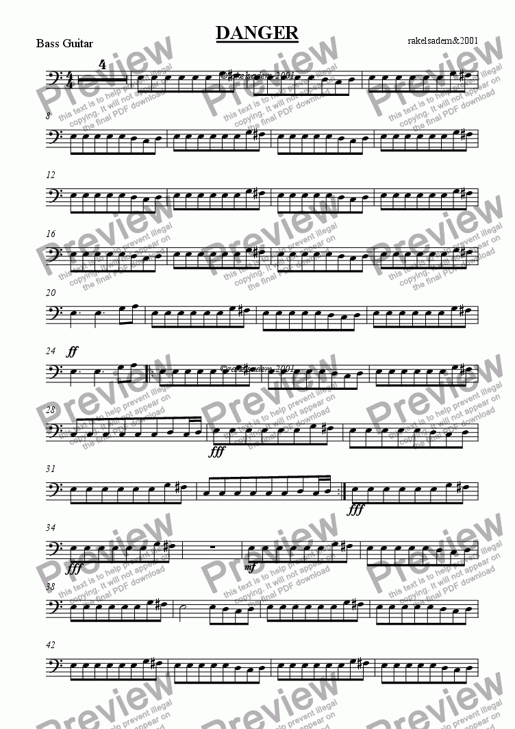 page one of the bass guitar part from DANGER