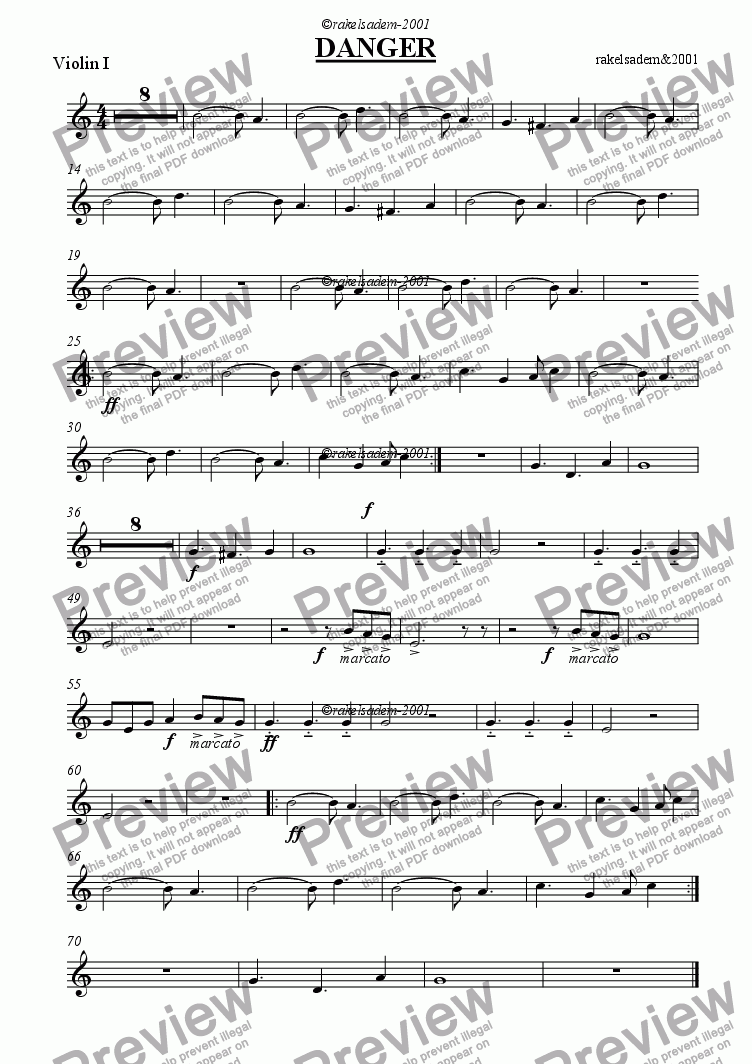 page one of the violin part from DANGER