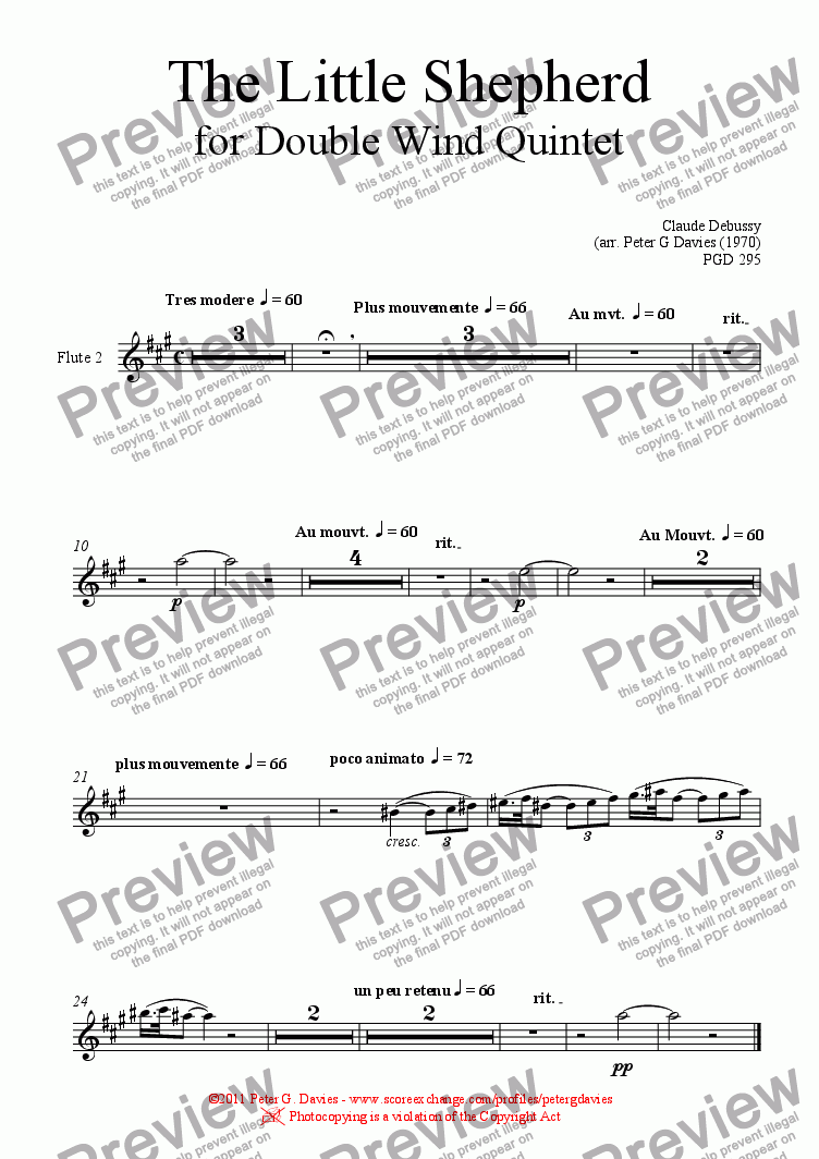 page one of the Flute 2 part from The Little Shepherd for Double Wind Quintet