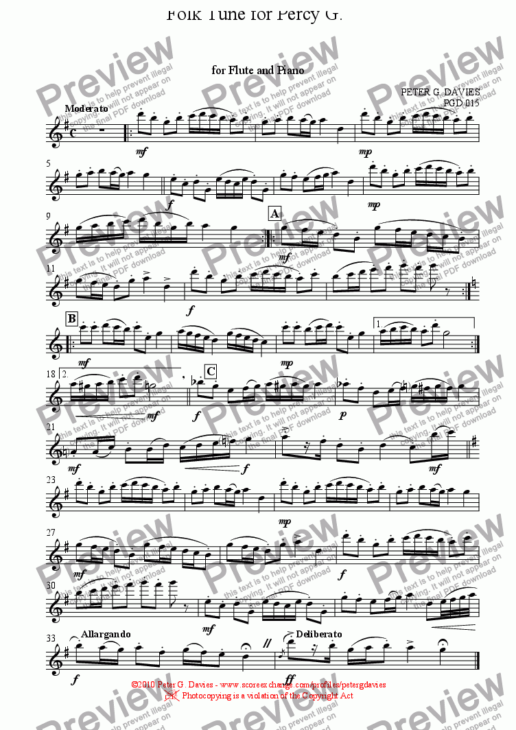 page one of the Flute part from Folk Tune for Percy G. for Flute and Piano