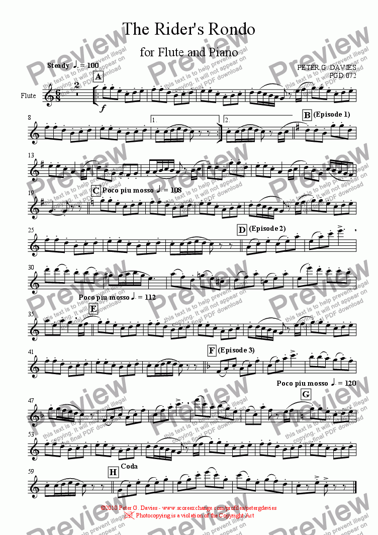 page one of the Flute part from The Rider's Rondo for Flute and Piano