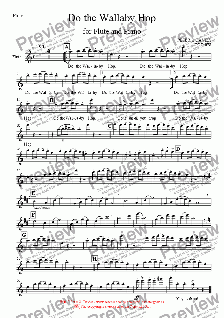 page one of the Flute part from Do the Wallaby Hop for Flute and Piano