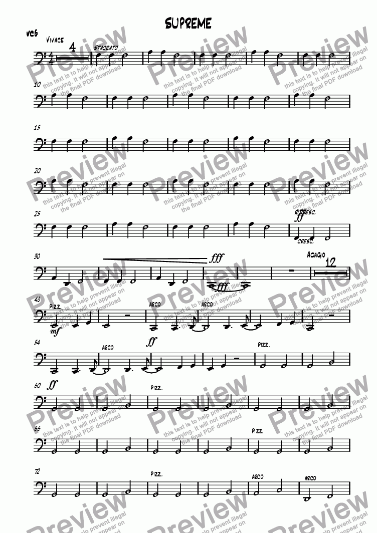 page one of the CELLO5 part from SUPREME