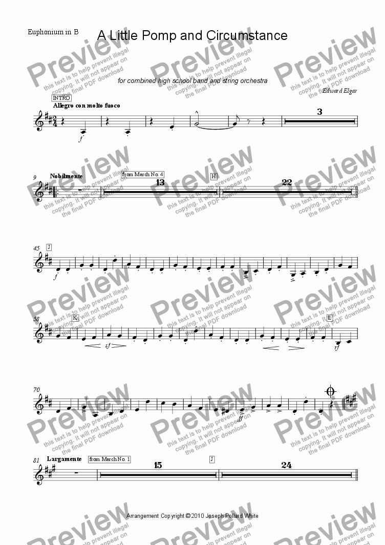 page one of the Euphonium in B part from A Little Pomp and Circumstance